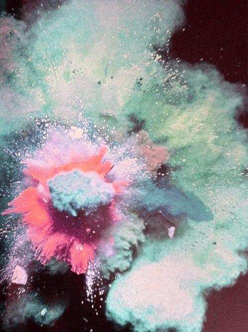 color dust explosion, like color run stuff