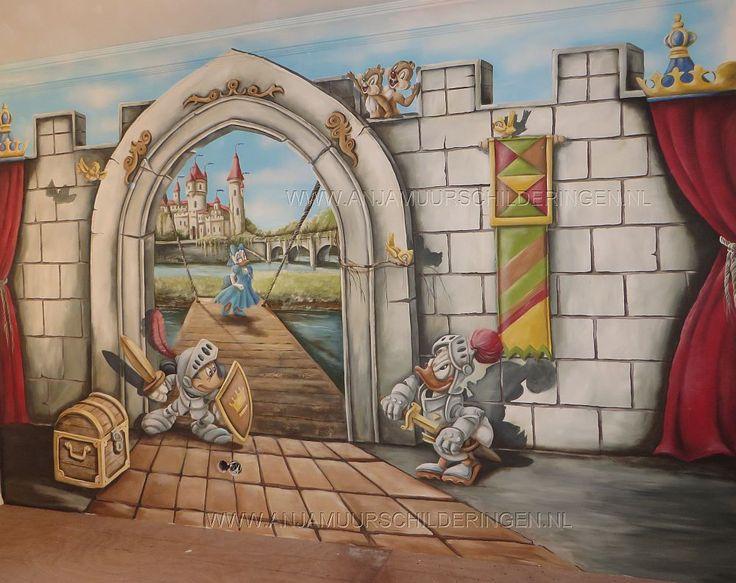 Kinderkamer muurschildering ridders