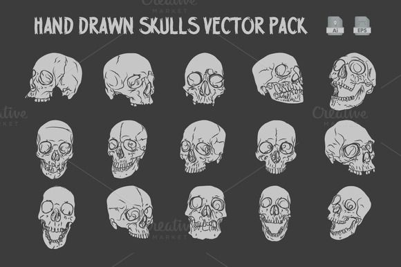 Check out Hand Drawn Skulls Vector Pack by Rooms Design Shop on Creative Market