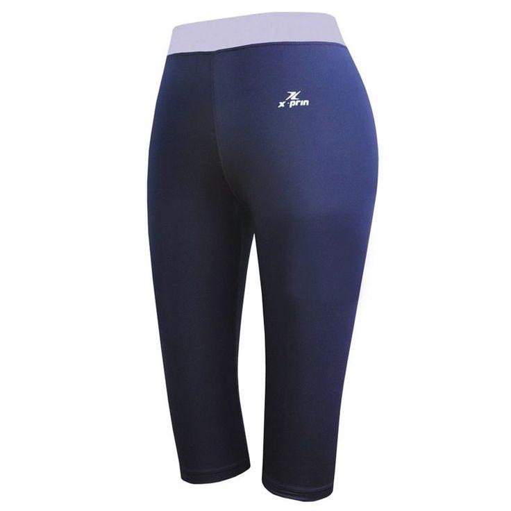 ESPRINT Compression Capri Shorts Leggings Base Layer Pants A613 Navy-Lilac #ESPRINT #CapriShorts
