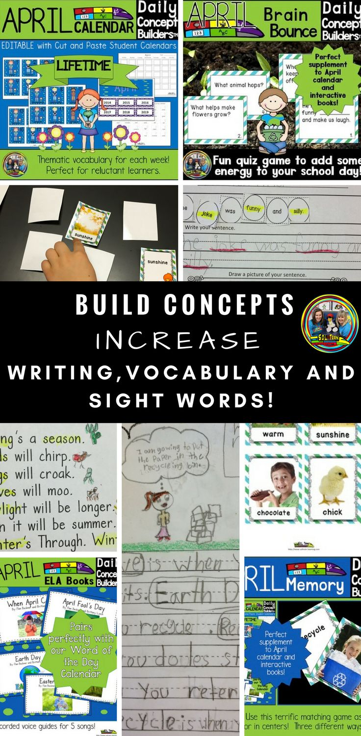 50% off for a limited time! All 6 of these April Daily Concept Builders have really increased my students' vocabulary and writing. I love watching how much progress they show in their writing! You get a vocabulary calendar, engaging sheets, centers,  books, songs and games. #teacherspayteachers#soltrainlearning#vocabulary#games#activities#spring#aprilkids#firstgrade#sightwords#writing#reading#teacherlife#tpt#education#teaching