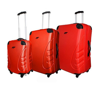 International Traveller Expandable Upright 4 Wheel Spinner Luggage Set - RED #ilovetoshop