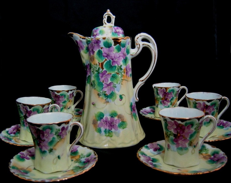 Chocolate Pot Set Vintage Hand Painted with 6 Cups and Saucers, Demitasse, Moriage, Japanese, Violets.