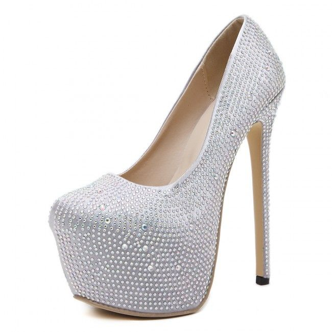 Silver Pump Round Toe Diamond Wedding Shoes Closed-toe Stiletto Heels For Prom - TheCelebrityDresses