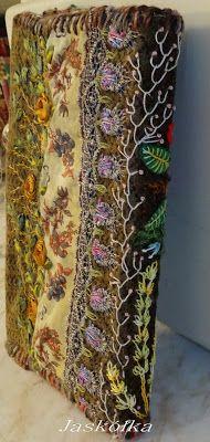 Okładka na zeszyt z haftem w stylu Facile- grzbiet