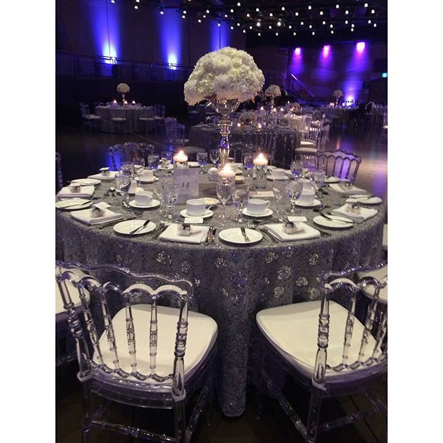 Clear napoleon chairs & grey valentino lace