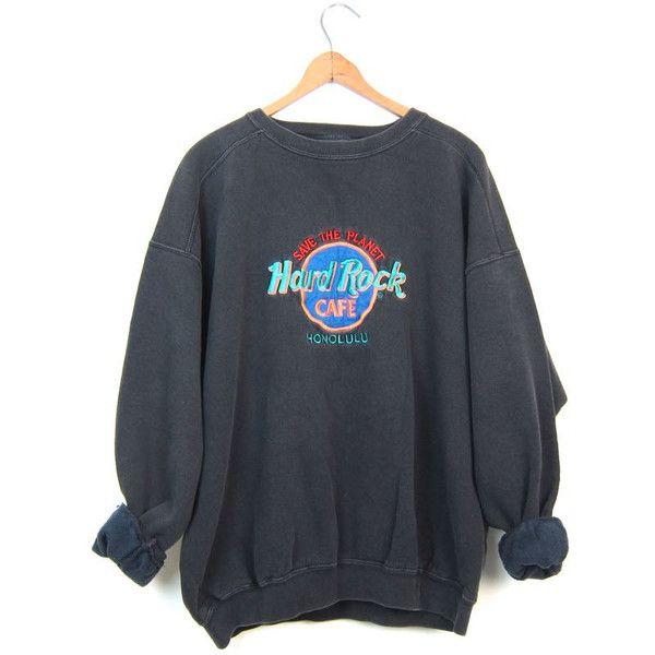 Vintage Hard Rock Cafe Sweatshirt HONOLULU 80s Sweatshirt Washed Out... (43 CAD) ❤ liked on Polyvore featuring men's fashion, men's clothing, grunge mens clothing, vintage mens clothing, 80s men's fashion and hipster mens clothing