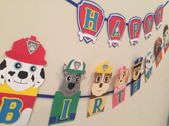This is a handmade HAPPY BIRTHDAY BANNER inspired by Paw patrol cartoon. The banner is a compilation of high quality card stock paper, each character has different details. By layering card stock I give the banner a 3D appearance. Everything is made out of paper, hand trace, hand cut and some details are painted. Not your colors or pattern? Want to swap characters? Just send me a message. I am happy to accommodate any change you have. All my inventory is made out of custom order request…