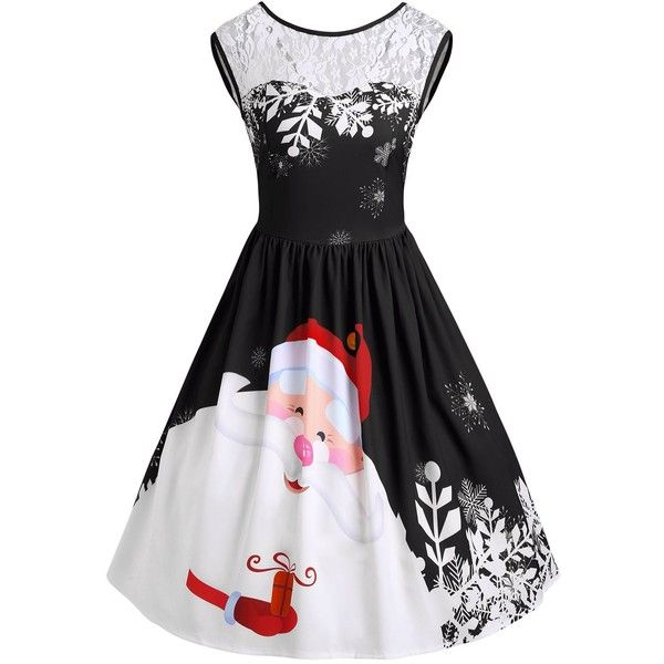Santa Claus Print Lace Insert Christmas Party Dress ($13) ❤ liked on Polyvore featuring dresses, pattern dress, print cocktail dress, christmas cocktail dresses, vintage cocktail dresses and christmas dresses