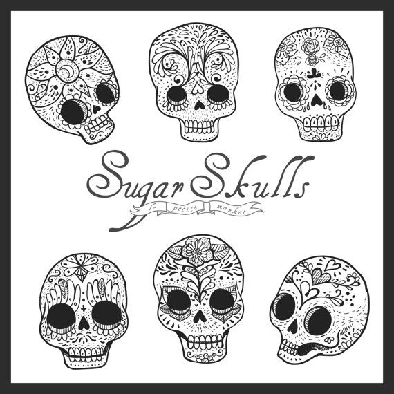 Cute Hand Drawn Digital Sugar Skull Clipart Digital