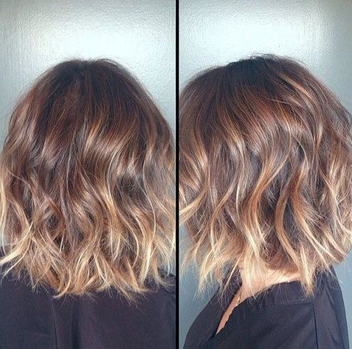 Shoulder length bob women's haircut, messy curls, Ombre warm brown into warm blonde