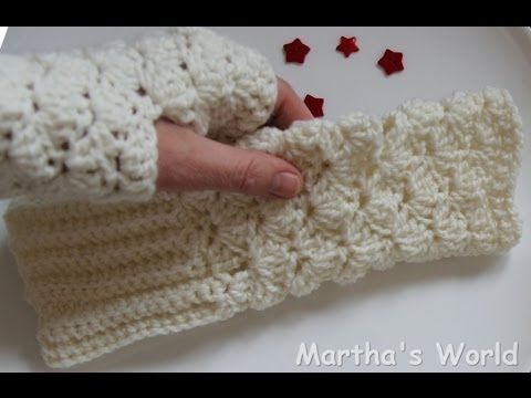 (crochet) How To - Crochet Iris Stitch Finger-less Mittens - YouTube