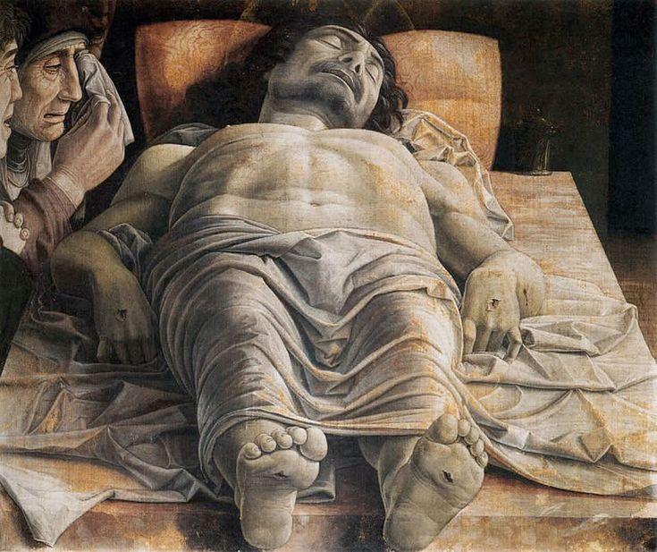 ANDREA MANTEGNA (1430-1506) Opłakiwanie Chrystusa, tempera na płótnie, 68x81 cm, 1490, Pinacoteca di Brera, Mediolan