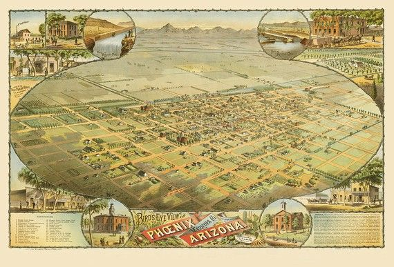Historical landmarks and building of Phoenix Arizona in 1885 https://www.etsy.com/listing/68499048/vintage-map-phoenix-arizona-1885? #Arizonahistory