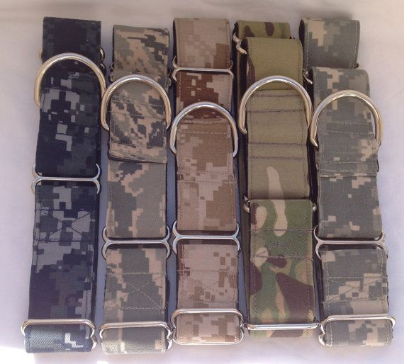 "U.S.Military Martingale Dog Collar 1"" And 1.5"" , Available In U.S. Navy, Air Force, Army, And Marines Digital Camo - Size M, L, XL on Etsy, $20.00"