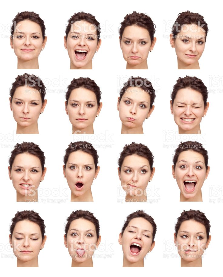 beautiful young girl face expressions isolated on white royalty-free stock photo