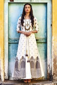 Show details for Stylish white anarkali with a long jacket