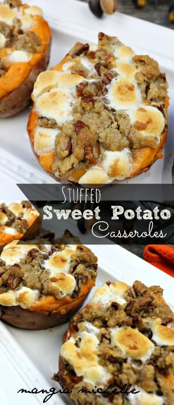 "Stuffed sweet potato casseroles are a ""mini"" version of everyone's favorite Thanksgiving side dish."