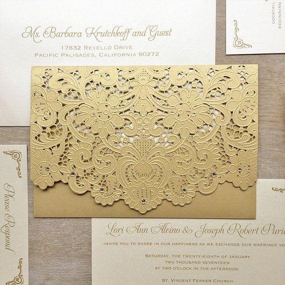 LORI - Ivory and Gold Laser Cut Wedding Invitation - Metallic Gold Laser Cut Envelope with Ivory card - Swarovski Crystal Embellishments