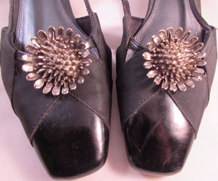 """Vintage Musi Signed Silver Tone Sunflower Shoe Clips US Patent #34602 1 1/2"""" #Musi #Any"""