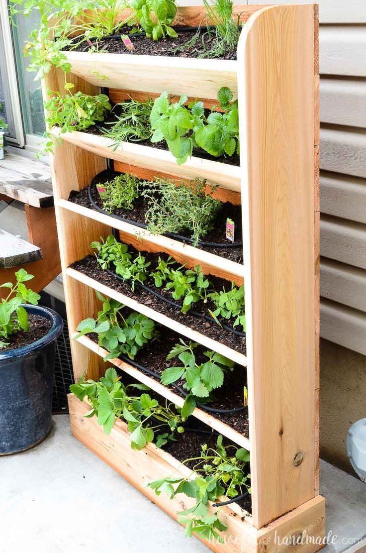 Diy Vertical Garden With Drip Watering System Vertical Garden Diy Diy Herb Garden Vertical Vegetable Garden