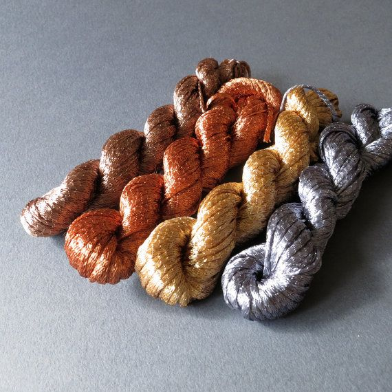 Chilean Viscose Knitted Ribbon Yarn - Metallic Sampler Pack 10gm x 4 colors skeins