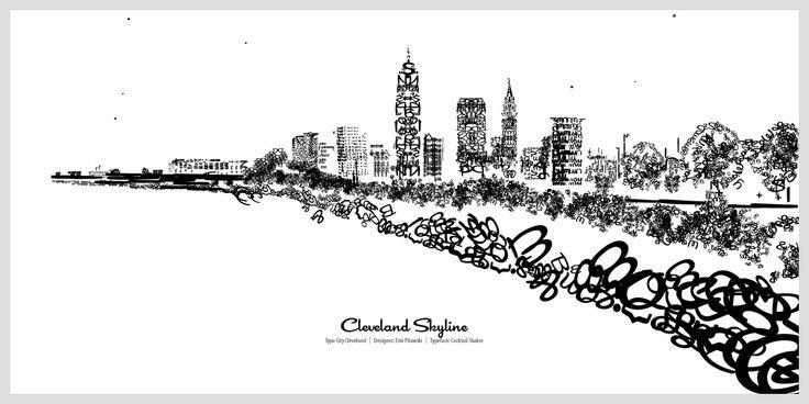 Cleveland skyline type city cleveland designer erin for Cleveland skyline tattoo