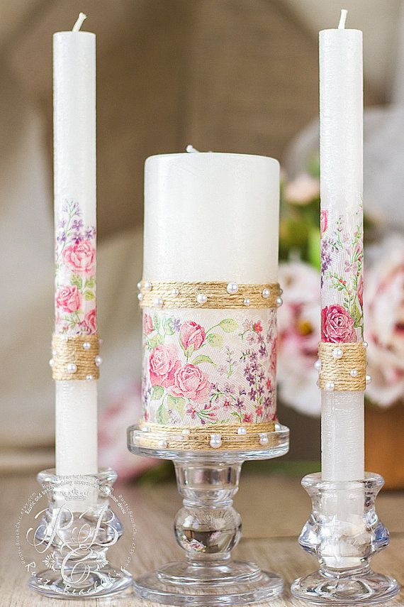 Roses pillar candles, vintage wedding unity candles, rustic chic, provence flower, cottage chic, votive candles, candle set, 3pcs