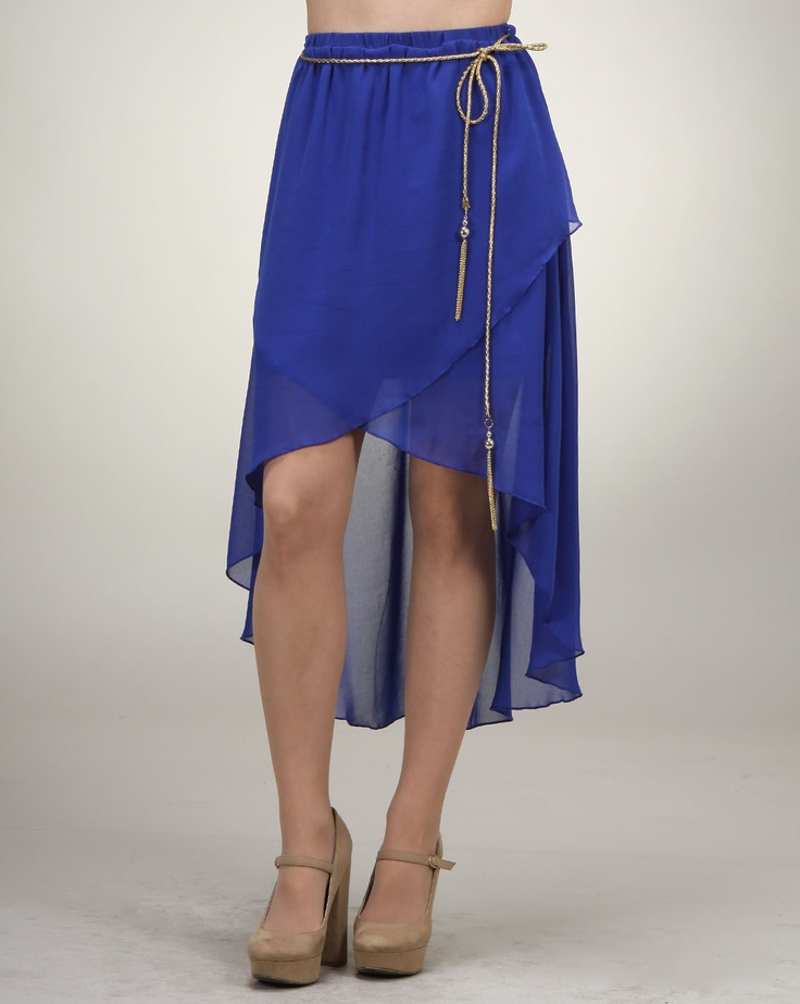 Cheryl says: Get your bohemian fix with this beautiful high-low skirt. The hem is shorter in the front and crisscrosses just above the knees. The back of the skirt reaches just above the ankles. The added detail of the gold rope tassel is a great alternative to a belt, while also giving the skirt its carefree appeal.