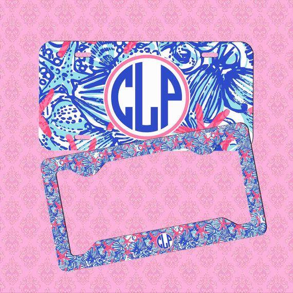 Monogram License Plate Frame Monogram Lilly by pinkblossomdesign