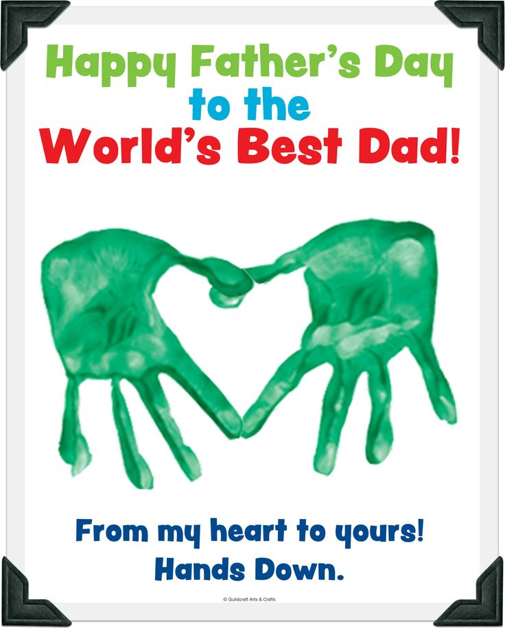 Father Day Crafts For Toddlers | Here's a freebie dads will love! Kids use their handprints to make a ...