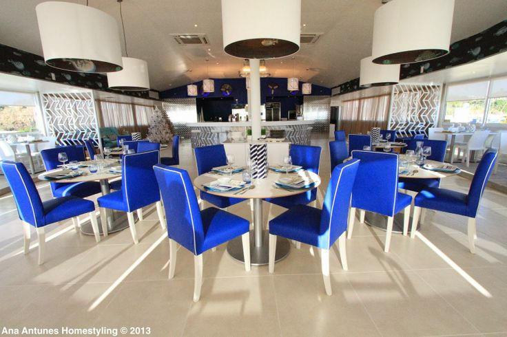 special project for the Querido Mudei a Casa Tv Show - Sushi & Fish restaurant over the Carcavelos Beach in Lisbon. cobalt blue, coastal, cole&son wallpaper 'acuario', floor & silver wall by lovetiles