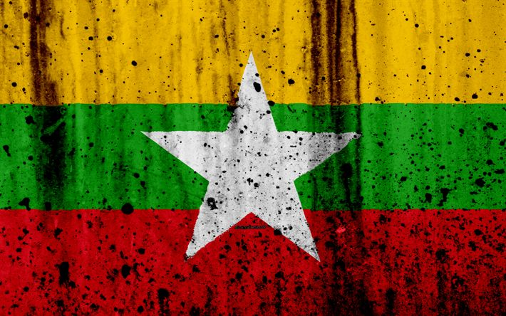 Download wallpapers Myanmar flag, 4k, grunge, flag of Myanmar, Asia, Myanmar, national symbols, Myanmar national flag