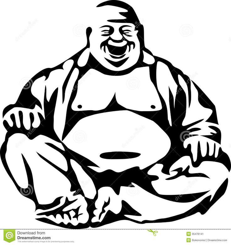Laughing Buddha Art | Stylized laughing buddha - black and white illustration. 1300.1382