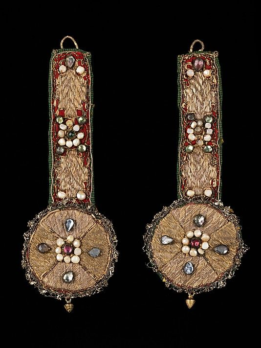 Ornament Date: 19th century Culture: Russian Medium: silk, cotton, metal, pearls, glass, mother-of-pearl