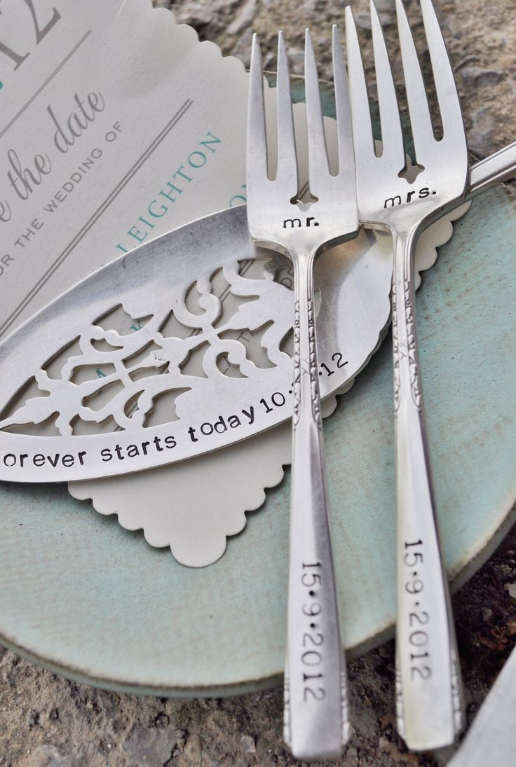 Mr. Mrs. WEDDING Cake forks with Forever Starts Today (TM) Personalized Vintage Wedding Cake Server - Hand Stamped SET. $80.00, via Etsy.