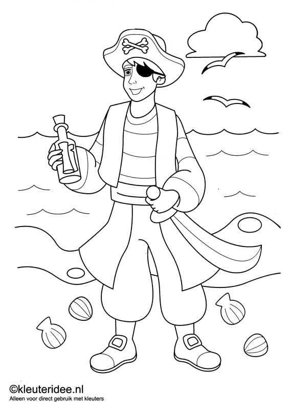 kleurplaat piraten 5, kleuteridee.nl , op de site nog veel meer piratenkleurplaten, pirates coloring free printable.