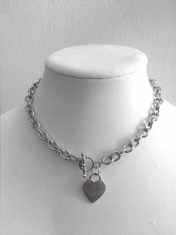 Silver Chunky Chain Necklace Choker Chain Necklace Heart