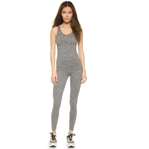 KORAL ACTIVEWEAR Jet Jumpsuit ($155) ❤ liked on Polyvore featuring jumpsuits, heather grey, bodycon jumpsuit, sleeveless jersey, jersey jumpsuit, open back jumpsuit and jumpsuits & rompers