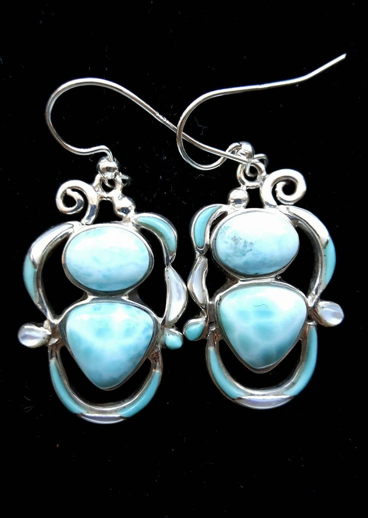 Larimar and Turquoise Inlay earring by IntlGEMex on Etsy
