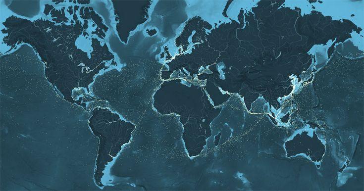 Voici une carte animée représentant l'intégralité des déplacements de navires sur les océans en 2012.