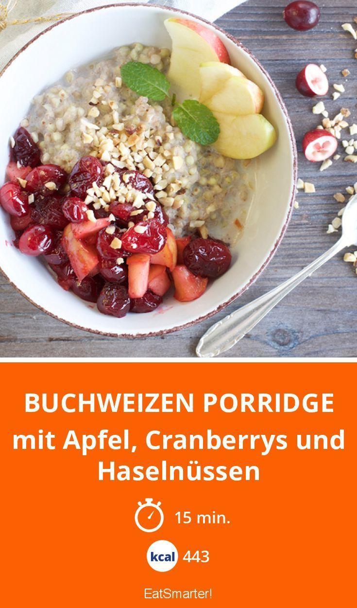 Buchweizen Porridge - mit Apfel, Cranberrys und Haselnüssen | Kalorien: 443 Kcal - Zeit: 15 Min. | http://eatsmarter.de/rezepte/buchweizen-porridge
