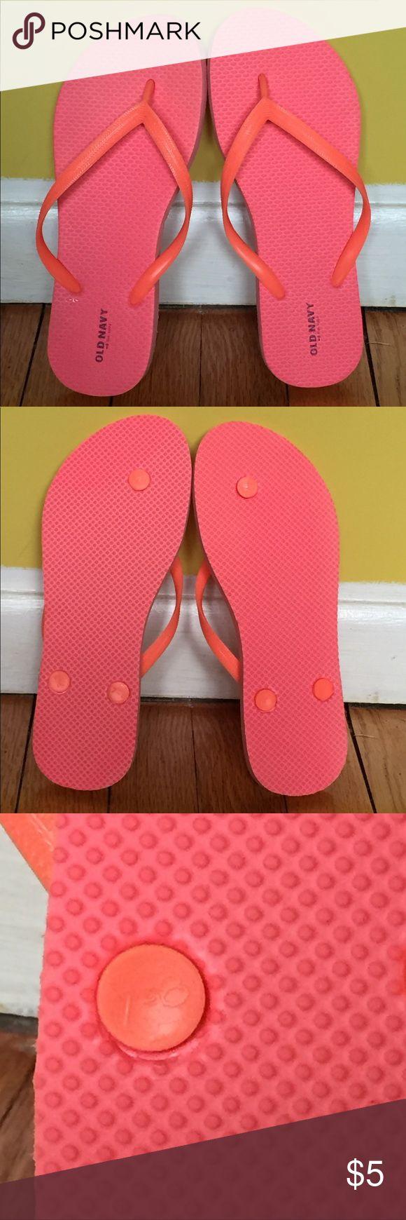 NWOT Old Navy coral flip flops size 7-8 NWOT Old Navy dark gray and purple flip flops size 7-8. Never worn Old Navy Shoes Sandals