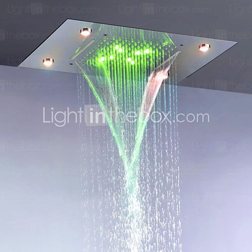 Bathroom Rain And Waterfall Shower Head / Stainless Steel 304 / Alternating Current Energy Saving LED Lamps Included - CAD $413.43