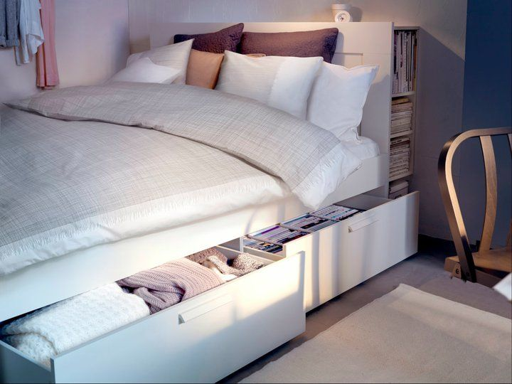 super size your closet space with this extra roomy brimnes full bed frame with - Bed Frame With Drawers Full