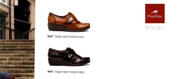 Zapatos Fluchos Mujer en cuña colores camel y negro
