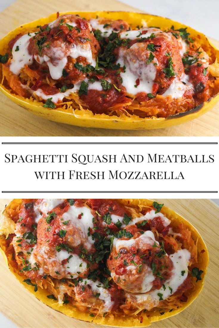 Low Carb Spaghetti Squash and Meatballs with Fresh Mozzarella - Slender Kitchen