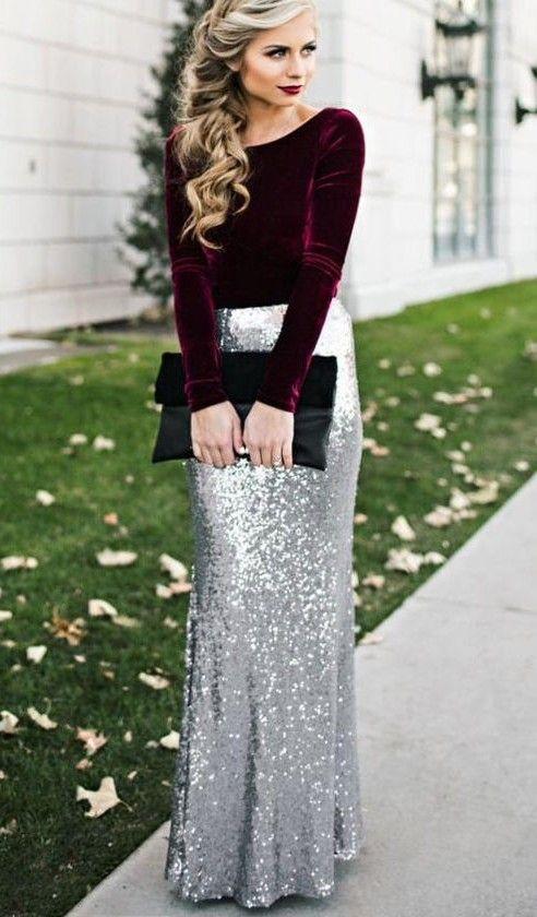 Christmas maxi shinig skirt