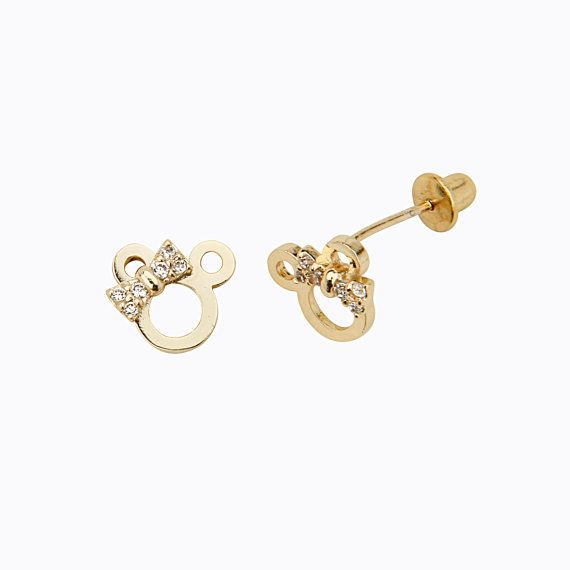 14K Gold Plated Minnie Mouse Design Children Screwback Earrings for Babies, Girls and Women. via Etsy