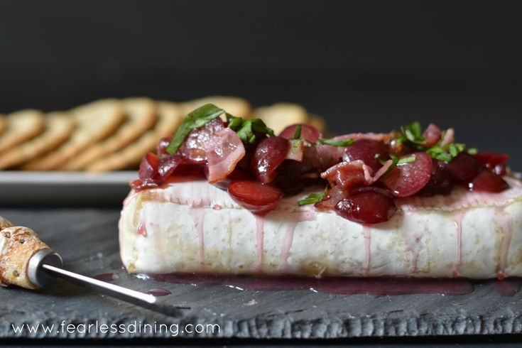 If you love brie cheese, give this easy cherry, basil, and bacon baked brie recipe a try. Serve with these gluten free Breton Crackers, or on a baguette.